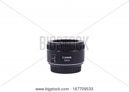 Kyiv, Ukraine - February 28, 2016: Canon 50Mm Ef 1.8 Stm Lens. Canon Inc. Is A Japanese Multinationa