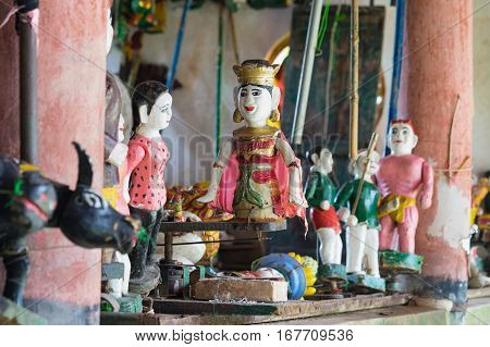 Common Vietnamese Water Puppets Behind Puppetry State. The Control Room Is Dark To Hide Puppeteers A