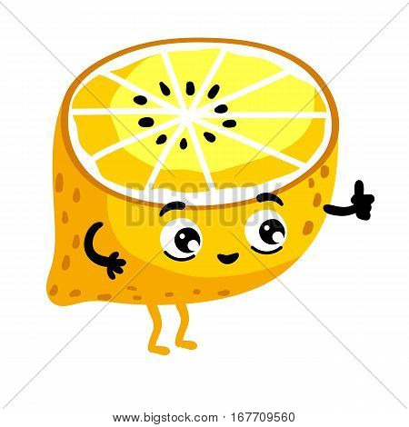 Cute fruit lemon cartoon character isolated on white background vector illustration. Funny positive and friendly lemon emoticon face icon. Happy smile cartoon face food emoji, comical fruit mascot