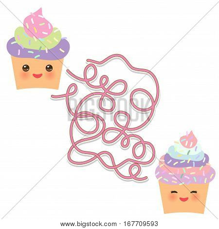 Cupcake Kawaii Funny Muzzle With Pink Cheeks On White Background. Labyrinth Game For Preschool Child