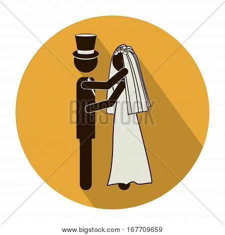 circular shape pictogram of wedding couple embracing with costumes vector illustration