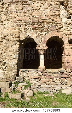 Cloister of Old romanesque monastery (late eighth century) Sant Quirze de Colera Alt Emporda Girona province Catalonia Spain
