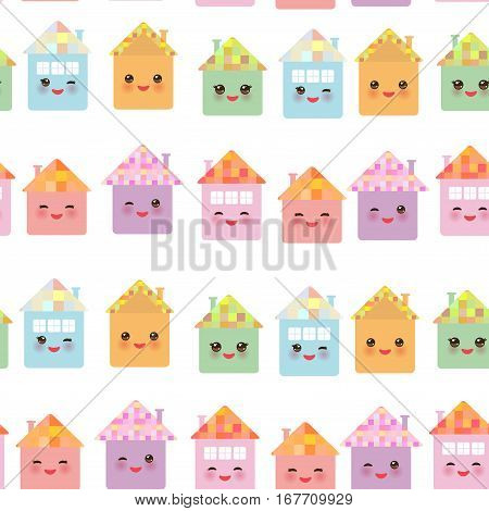 Funny happy house set kawaii face smile pink cheeks big eyes. seamless pattern pastel colors on white background. Vector illustration