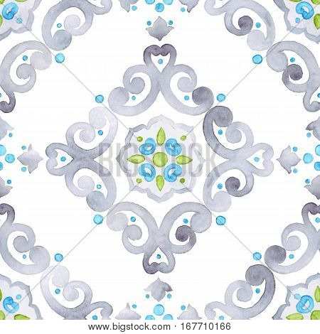 Watercolor filigree seamless pattern renaissance ornament. Delicate pastel openwork lace pattern. Soft gray blue and green revival tracery design.