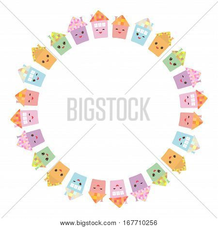 Round frame for your text. Funny happy house set kawaii face smile pink cheeks big eyes. pastel colors isolated on white background. Vector illustration