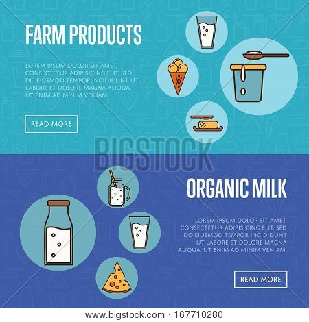 Organic products horizontal templates with dairy round icons in line style design, vector illustrations with space for text. Nutritious and healthy products. Organic farming. Natural food