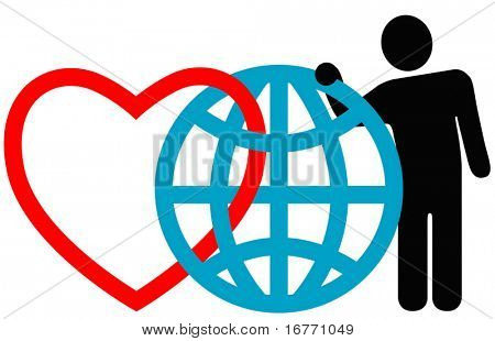 "Symbolic friends (heart, globe, man) pose together at the annual International Symbol Reunion. ""Love the Earth."""