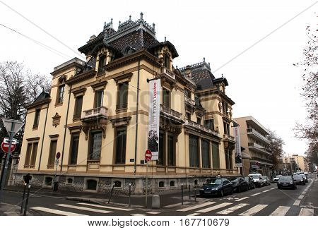Lyon, France - December 20, 2016: Monument . Institut Lumire? brothers Lumiere Cinema inventors museum. district Monplaisir in December 20 in Lyon, France