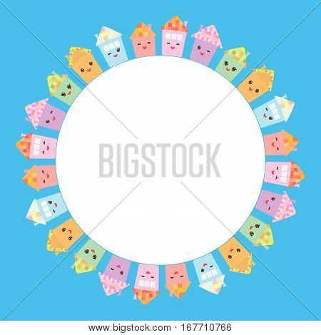 Round Frame For Your Text. Funny Happy House Set, Kawaii Face, Smile, Pink Cheeks, Big Eyes. Pastel