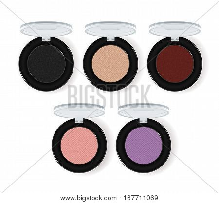 Realistic makeup cosmetics set isolated on white background vector illustration. Colorful facepowder or eyeshadow container collection. Decorative facial cosmetics products, beauty fashion makeup. Cosmetics product concept design