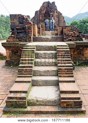 My Son Vietnam - Dec 26 2016: My Son is a cluster of abandoned and partially ruined Hindu temples constructed between the 4th and the 14th century AD by the kings of Champa.