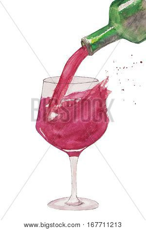 Red wine pouring into wine glass with splashes of red wine and bottle. Whimsical watercolor sketch.