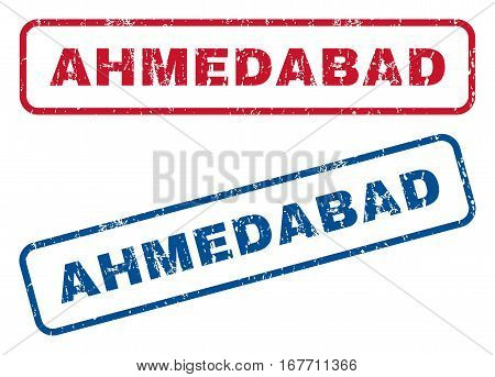 Ahmedabad text rubber seal stamp watermarks. Vector style is blue and red ink tag inside rounded rectangular shape. Grunge design and unclean texture. Blue and red emblems.