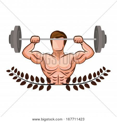 ornament leaves with muscle man lifting a disc weights vector illustration