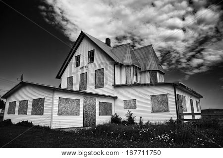 Abandoned motel in Gaspesie, Canada in black and white