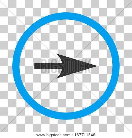 Arrow Axis X rounded icon. Vector illustration style is flat iconic bicolor symbol inside a circle blue and gray colors transparent background. Designed for web and software interfaces.