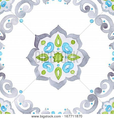 Watercolor filigree seamless pattern renaissance tiling ornament. Delicate pastel openwork lace pattern. Soft gray blue and green revival tracery design.