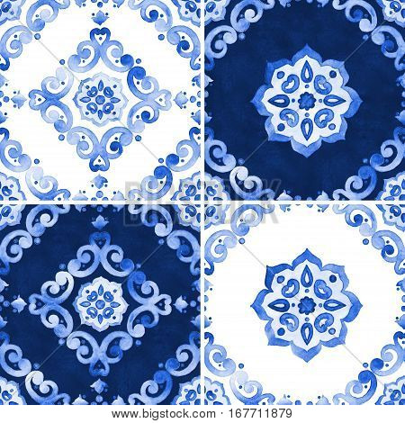 Set of abstract watercolor royal blue filigree seamless pattern moroccan tiling ornament. Delicate cobalt blue openwork lace pattern. Indigo revival design renaissance navy blue background.