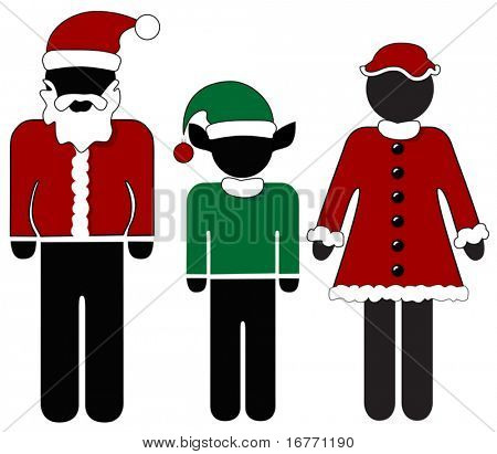 Merry international symbols for Santa Claus, Mrs Claus, Elf. Christmas personnel. Holiday people.