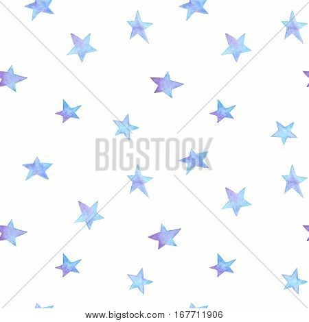 Seamless pattern with hand painted ombre blue and violet watercolor stars. Modern decoration for gift box wallpaper textile fabric wrapping paper. Winter theme. Hand drawn gradient design elements