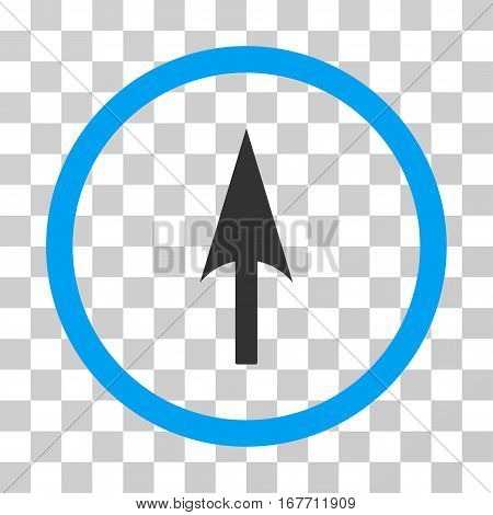 Arrow Axis Y rounded icon. Vector illustration style is flat iconic bicolor symbol inside a circle blue and gray colors transparent background. Designed for web and software interfaces.
