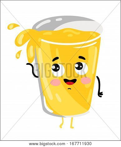 Cute glass of lemonade cartoon character isolated on white background vector illustration. Funny positive and friendly sweet drink emoticon face icon. Happy smile cartoon face, comical lemonade mascot