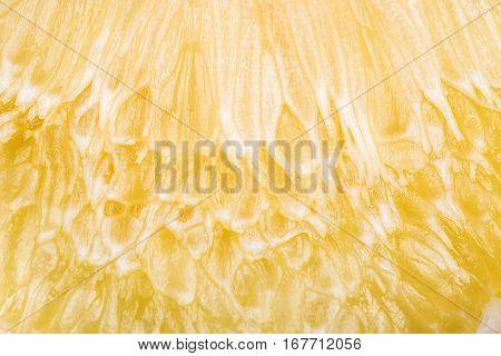 Close Up Of Lemon Or Pamela Texture Pulp Of The Fruit.