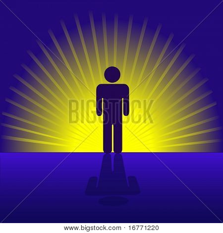 A human person man symbol emergent and radiant in gold rays. poster