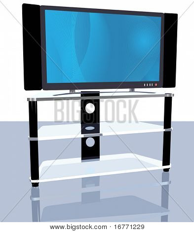 Illustration of a bright abstract picture on an HDTV on stand, with reflection.
