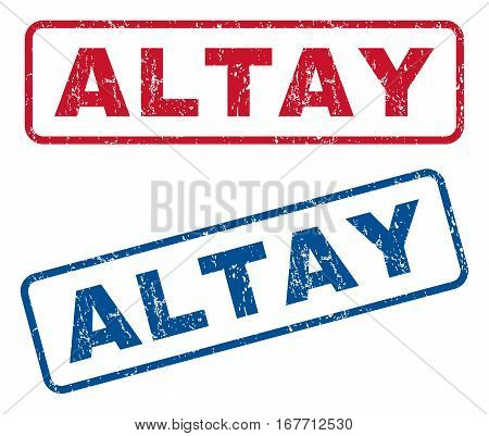Altay text rubber seal stamp watermarks. Vector style is blue and red ink tag inside rounded rectangular banner. Grunge design and dust texture. Blue and red signs.