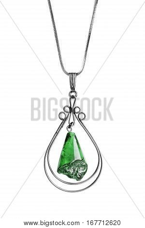 Green nephrite pendant on silver chain isolated over white