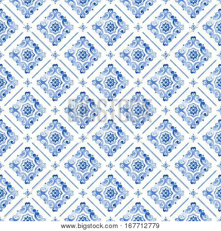 Watercolor royal blue filigree seamless pattern cobalt blue renaissance tile ornament. Moroccan navy blue background. Delicate sapphirine openwork lace pattern. Indigo revival tracery design.