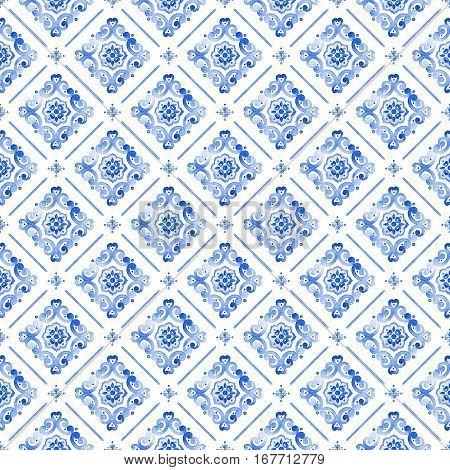 Watercolor royal blue filigree seamless pattern cobalt blue renaissance tile ornament. Moroccan navy blue background. Delicate sapphirine openwork lace pattern. Indigo revival tracery design.