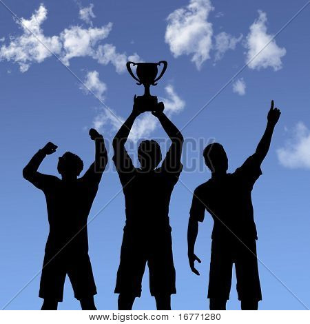 ILLUSTRATION: Silhouettes of team players win a trophy and celebrate business victory against a blue sky.