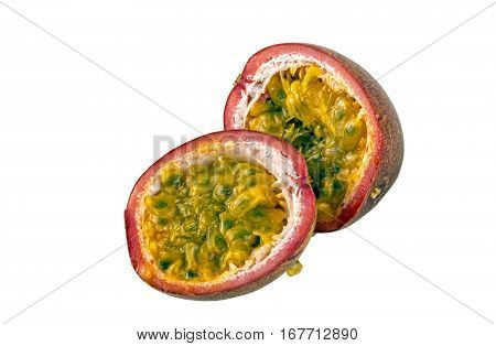 Halves Of Ripe Passion Fruits Seed And Texture