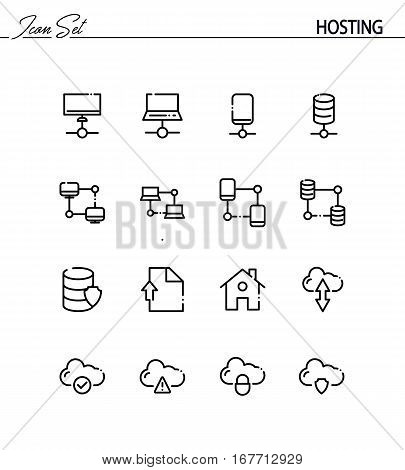 Hosting flat icon set. Collection of high quality outline symbols for web design, mobile app. Hosting vector thin line icons or logo.