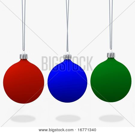 Assorment of Christmas ornaments, in velvet flat matte Red, Blue, & Green. 3D renders.