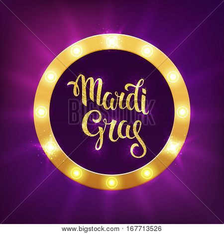 Mardi gras logo. Vector greeting card with golden hand drawn lettering and shining fat tuesday beads on a purple background