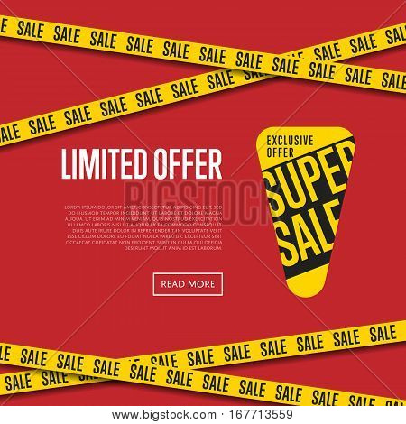 Limited offer website template vector illustration. Special discount tag, exclusive offer promo, advertisement retail banner, super sale, exclusive shopping symbol. Modern graphic style offer concept