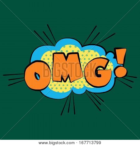 Comic sound effects OMG in pop art vector style. Sound bubble speech with word and comic cartoon expression sounds illustration.