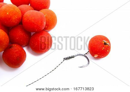 Carp Fishing. Carp Hook Red Boilies Isolated On White Background.
