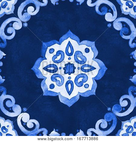 Watercolor royal blue velour seamless pattern renaissance tiling ornament. Delicate filigree openwork lace pattern. Blue velvet revival tracery design. Denim texture background.
