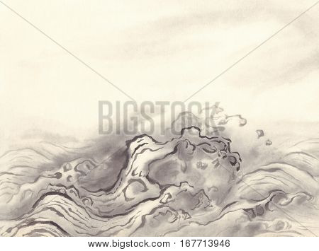 water waves brushstrokes ink painting background on old grunge paper