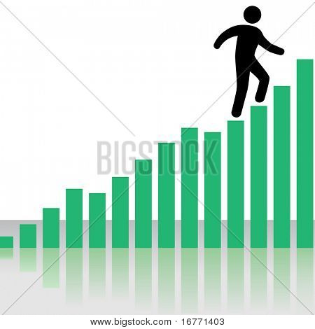 A symbol business person climbs up a Profit Chart Graph as stairs, with reflection.