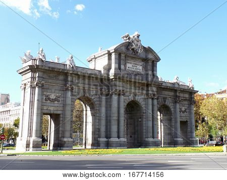 Puerta de Alcala,the triumphal arch in the city center of Madrid, Spain