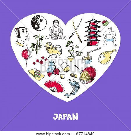 Love Japan. Dotted heart filled with colored doodles associated with japanese nation vector illustrations set. Memories about Asia journey. Sketched culinary, culture, religious icons