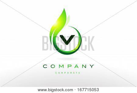 v alphabet letter green leaf circle vector logo icon sign design template