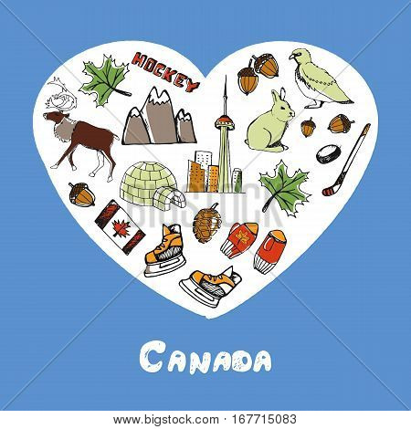 Love Canada. Dotted heart filled with colored doodles associated with canadian nation vector illustrations set. Memories about North America journey. Sketched nature, sports, architecture icons