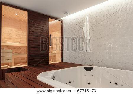Spacious Indoor Clean  Bathtub and Sauna poster