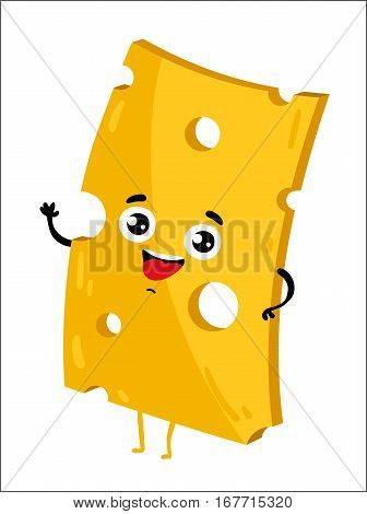 Cute cheese slice cartoon character isolated on white background vector illustration. Funny dairy product emoticon face icon. Happy smile cartoon face milk food, comical cheddar cheese mascot symbol